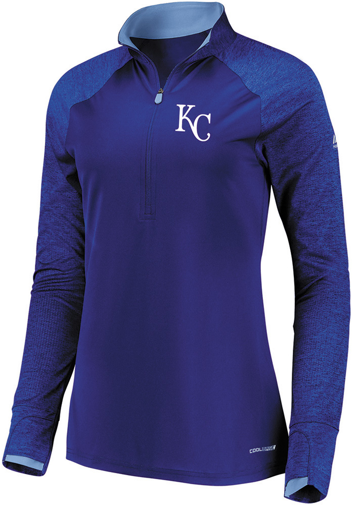 Majestic KC Royals Womens Blue Extremely Clear 1/4 Zip Pullover - Image 1