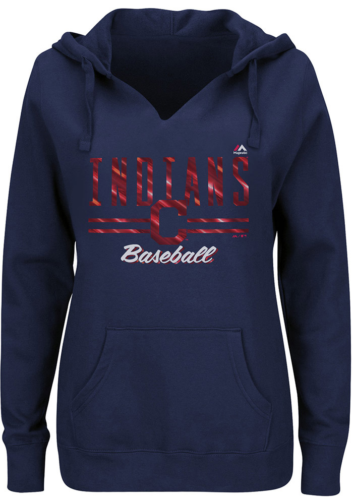 Majestic Cleveland Indians Womens Navy Blue Prepare to Dazzle Hooded Sweatshirt - Image 1