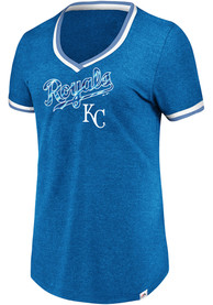 Majestic Kansas City Royals Womens Blue Driven By Results V-Neck