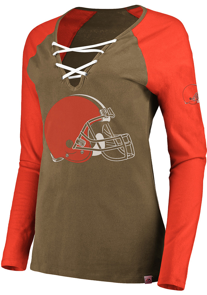 Cleveland Browns Womens Brown Lace-Up LS Tee - Image 1