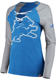Detroit Lions Womens Lace-Up T-Shirt - Blue