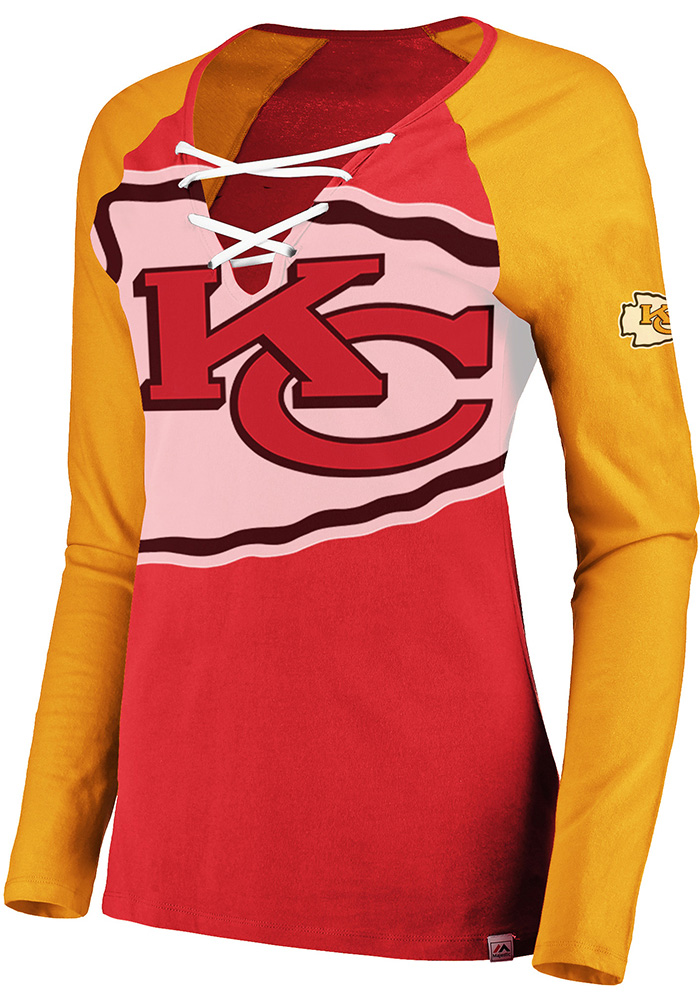 Kansas City Chiefs Womens Red Lace-Up LS Tee - Image 1