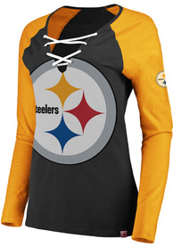 Pittsburgh Steelers Womens Lace-Up Black LS Tee