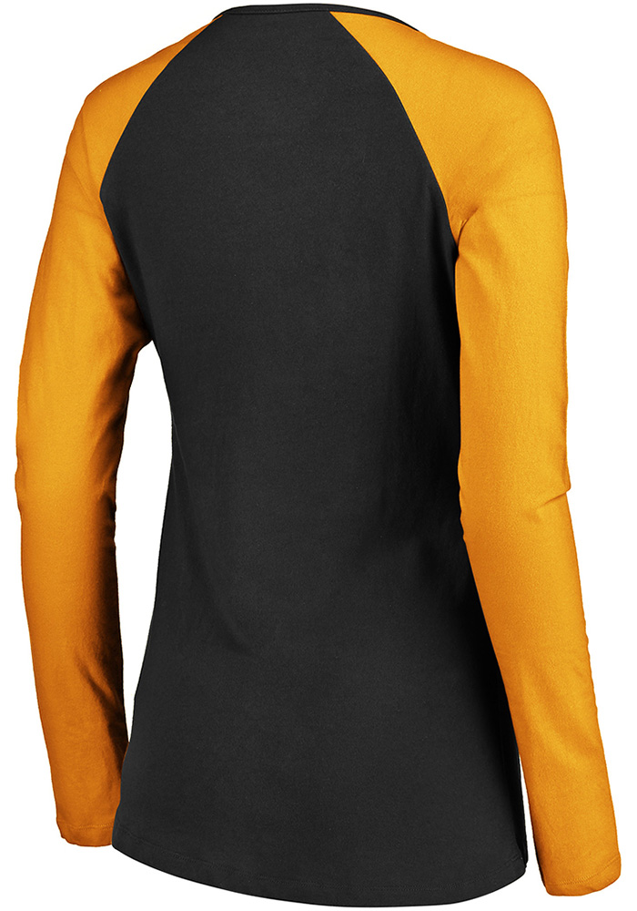 Pittsburgh Steelers Womens Black Lace-Up LS Tee - Image 2