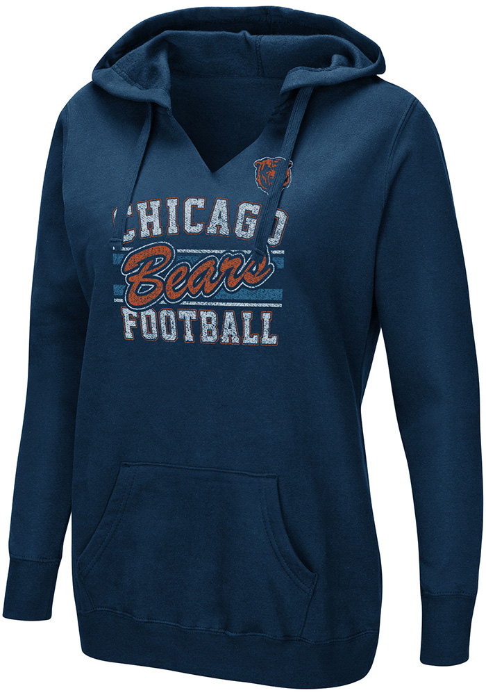 Chicago Bears Womens Navy Blue Quick Out Hooded Sweatshirt - Image 1