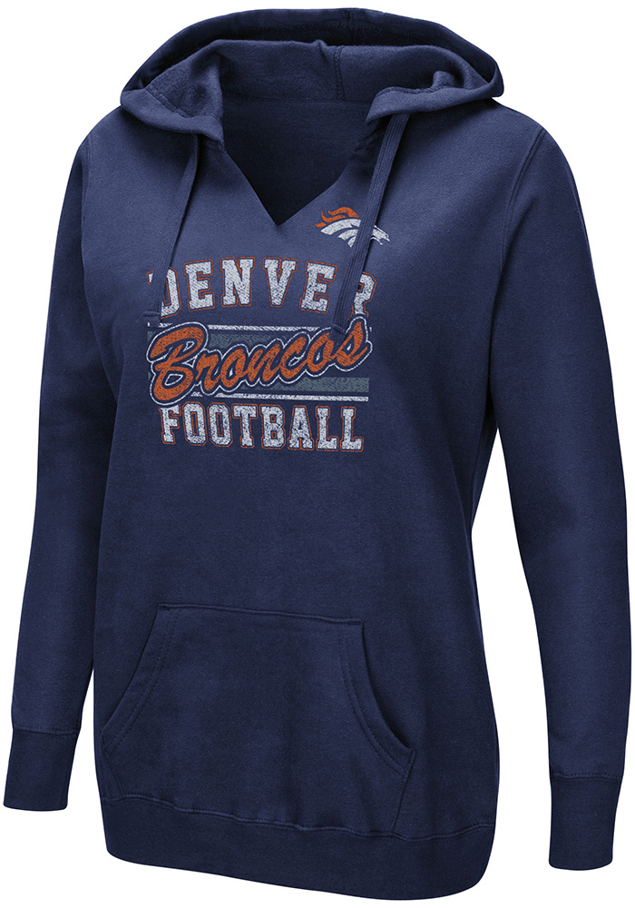 Denver Broncos Womens Navy Blue Quick Out Hooded Sweatshirt - Image 1