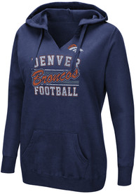 Denver Broncos Womens Quick Out Hooded Sweatshirt - Navy Blue