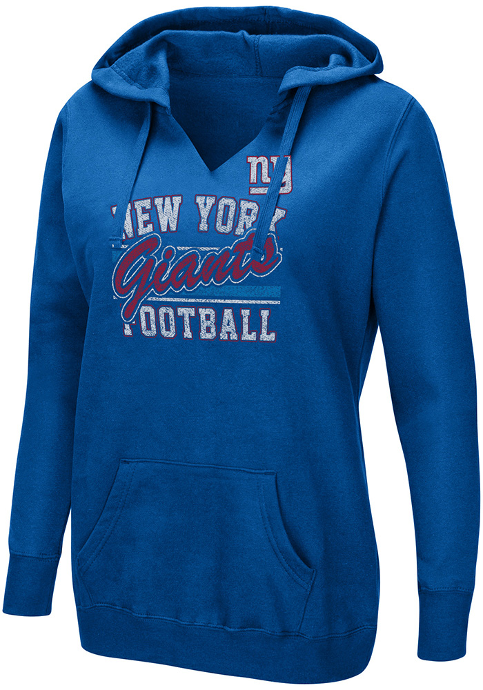 New York Giants Womens Blue Quick Out Hooded Sweatshirt - Image 1