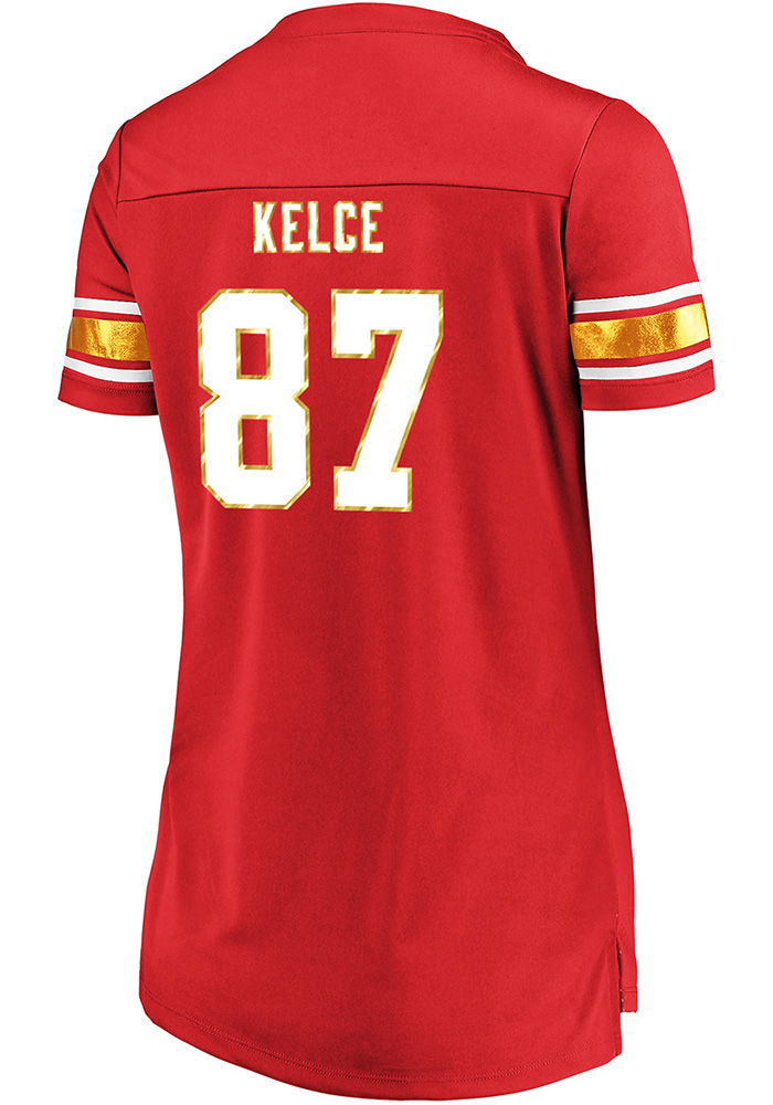Travis Kelce Kansas City Chiefs Womens Draft Him Fashion Football Jersey - Red