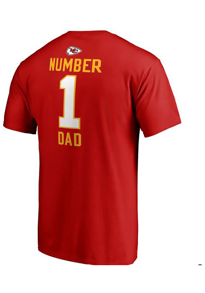 Majestic Kansas City Chiefs Red Number 1 Dad Short Sleeve T Shirt - Image 2