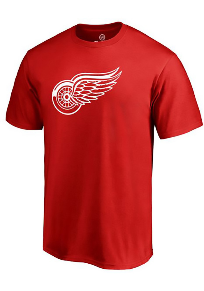Majestic Detroit Red Wings Red Number 1 Dad Short Sleeve T Shirt - Image 1