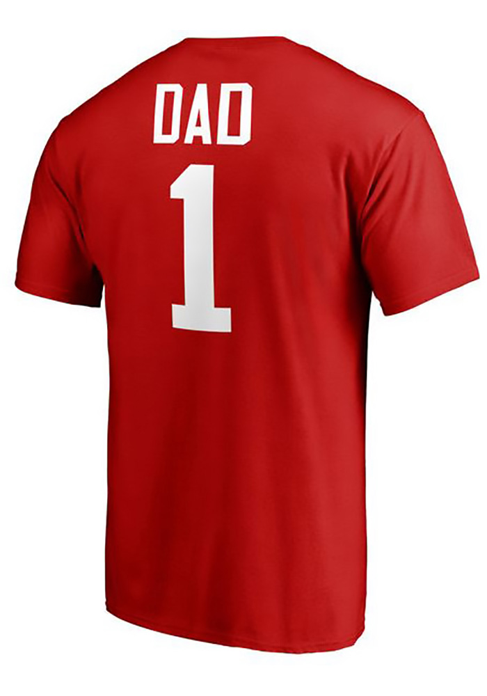 Majestic Detroit Red Wings Red Number 1 Dad Short Sleeve T Shirt - Image 2
