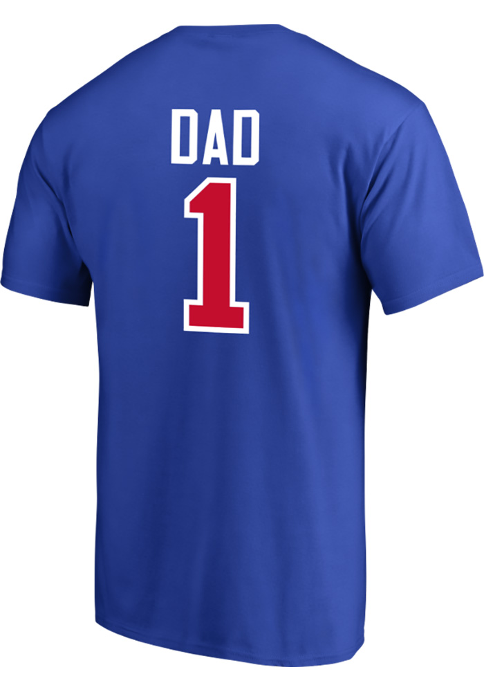 Majestic Texas Rangers Blue Number 1 Dad Short Sleeve T Shirt - Image 1