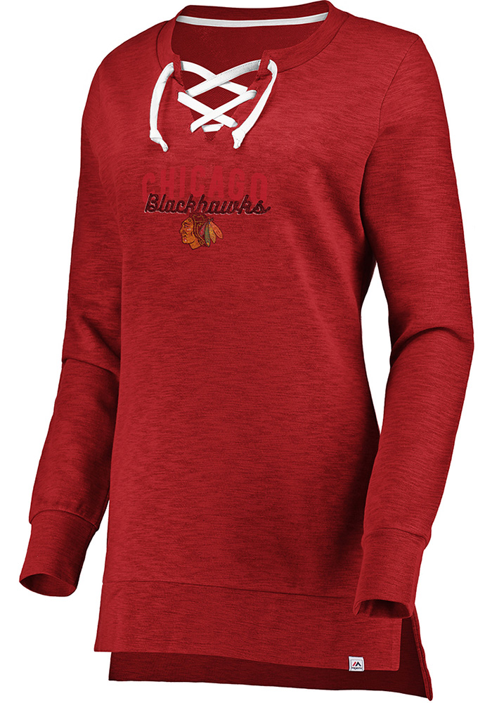 Majestic Chicago Blackhawks Womens Red Hyper Lace Tunic Crew Sweatshirt - Image 1