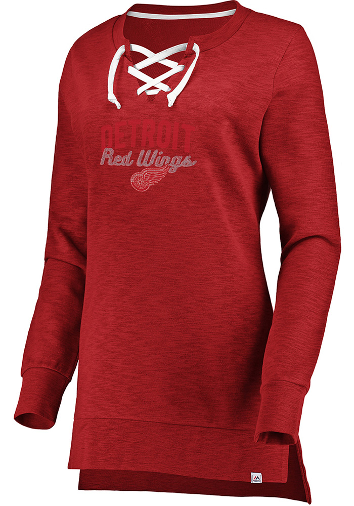 Majestic Detroit Red Wings Womens Red Hyper Lace Tunic Crew Sweatshirt - Image 1