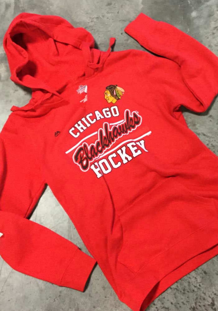 Majestic Chicago Blackhawks Womens Red Raise the Level Hooded Sweatshirt - Image 3
