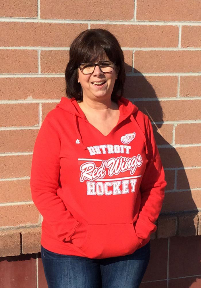 Majestic Detroit Red Wings Womens Red Raise the Level Hooded Sweatshirt - Image 2
