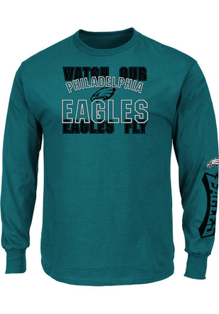 Majestic Philadelphia Eagles Mens Midnight Green Fly Tee
