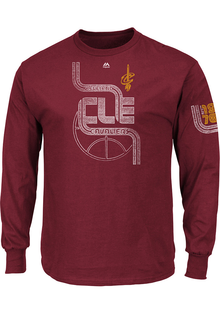 Majestic Cleveland Cavaliers Mens Red Hungry Long Sleeve T Shirt - Image 1