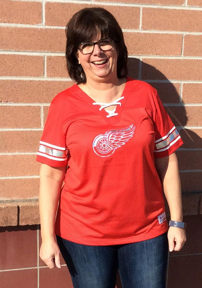 Majestic Detroit Red Wings Womens Majestic Draft Me V Neck Fashion Hockey Jersey - Red - Image 3