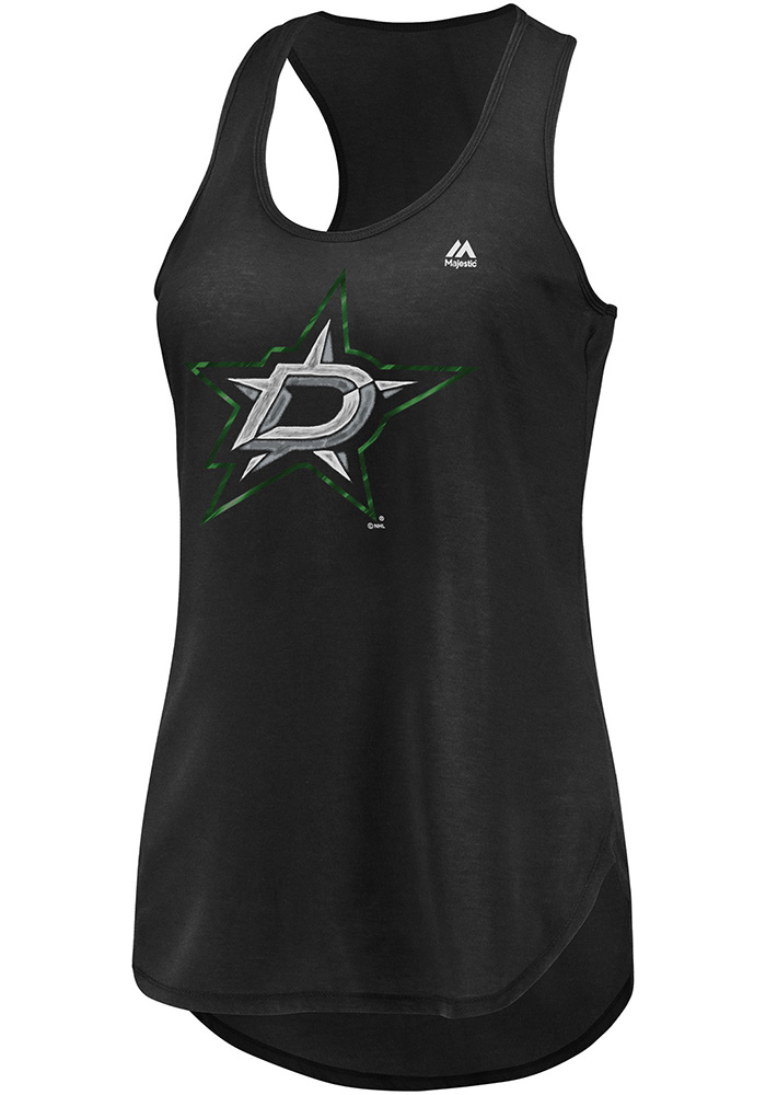 Majestic Dallas Stars Womens Black Trapezoid Racerback Tank Top - Image 1