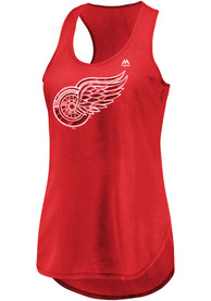 Detroit Red Wings Womens Majestic Trapezoid Racerback Tank Top - Red