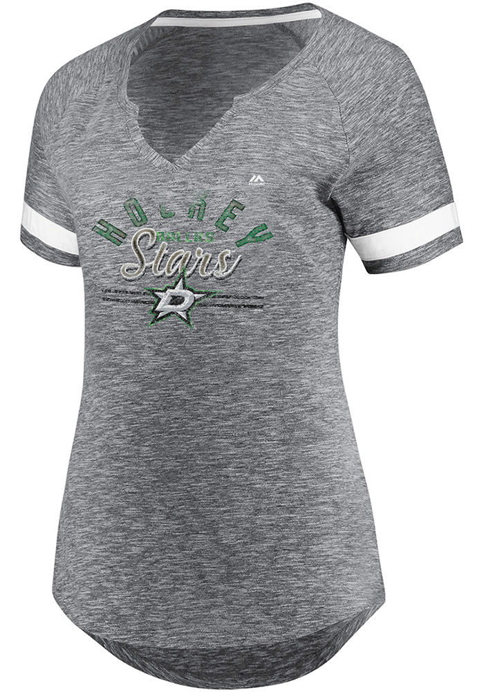 Majestic Dallas Stars Womens Grey Pregame Style V Neck Short Sleeve T-Shirt - Image 1