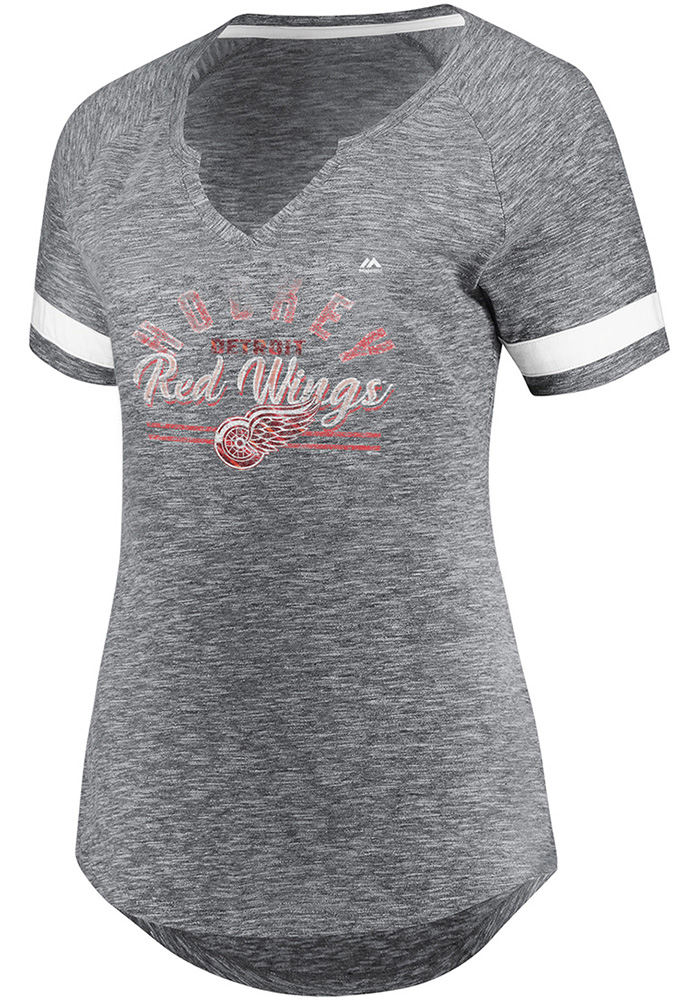 Majestic Detroit Red Wings Womens Grey Pregame Style V Neck Short Sleeve T-Shirt - Image 1