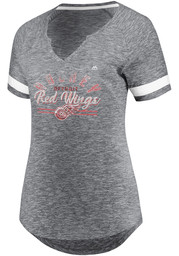 Majestic Detroit Red Wings Womens Grey Pregame Style V Neck Short Sleeve T-Shirt
