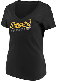 Pittsburgh Penguins Womens Majestic Goal Cage V Neck T-Shirt - Black