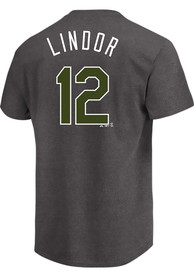 Francisco Lindor Cleveland Indians Charcoal Memorial Day Player Tee