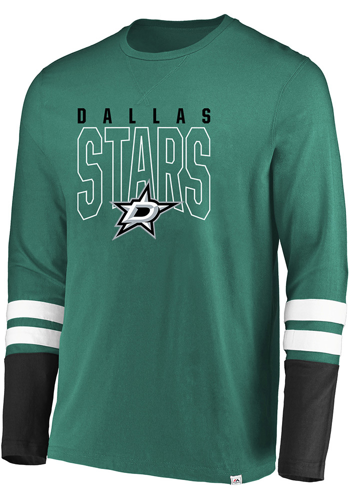 Majestic Dallas Stars Green 5 Minute Major Long Sleeve Fashion T Shirt - Image 1