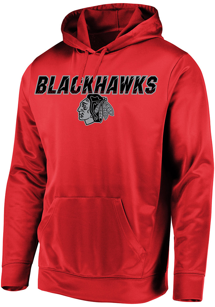 Majestic Chicago Blackhawks Mens Red High Energy Long Sleeve Hoodie - Image 1