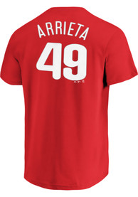Jake Arrieta Philadelphia Phillies Red Name and Number Player Tee