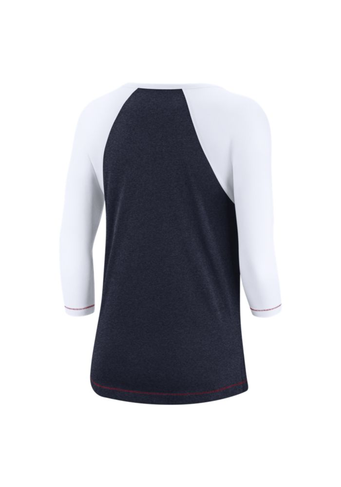 Nike Cleveland Indians Womens Navy Blue Dry Fashion LS Tee - Image 2