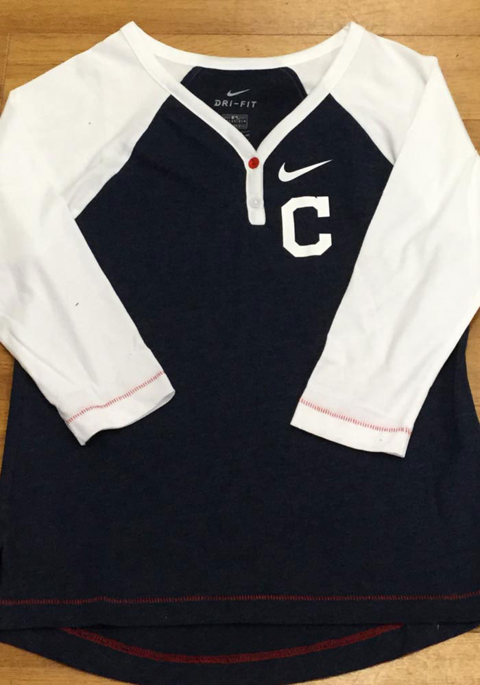 Nike Cleveland Indians Womens Navy Blue Dry Fashion LS Tee - Image 3