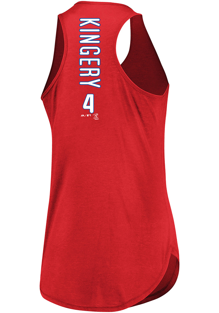 Scott Kingery Majestic Philadelphia Phillies Womens Red Racerback Player Tank Top - Image 1