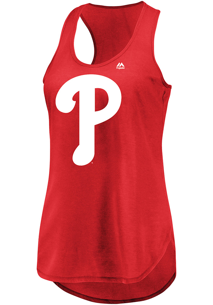 Scott Kingery Majestic Philadelphia Phillies Womens Red Racerback Player Tank Top - Image 2