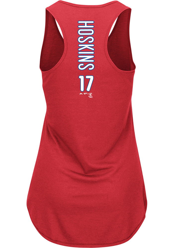 Rhys Hoskins Majestic Philadelphia Phillies Womens Red Racerback Player Tank Top