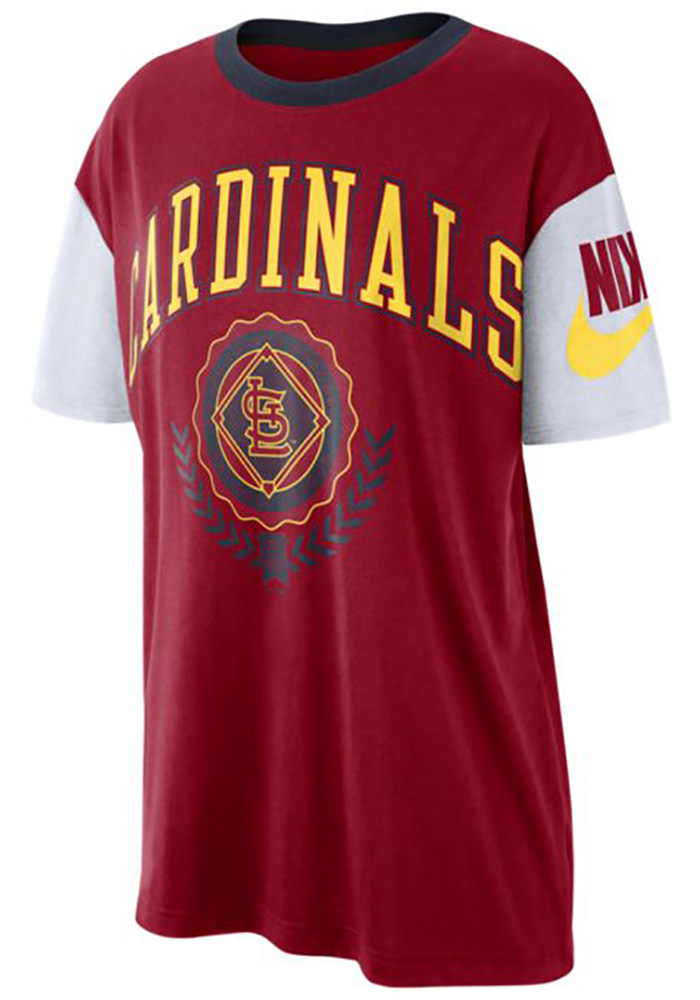 Nike St Louis Cardinals Womens Red Boycut Short Sleeve T-Shirt - Image 1