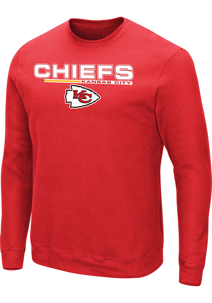 Majestic Kansas City Chiefs Mens Red Primary Receiver Long Sleeve Crew Sweatshirt - Image 1