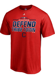 Cleveland Indians Majestic 2018 Division Champs Locker Room T Shirt - Red