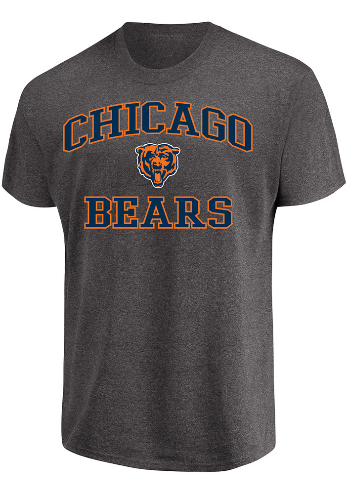 Majestic Chicago Bears Mens Grey Heart and Soul Short Sleeve T Shirt - Image 1