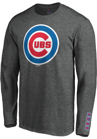Chicago Cubs Majestic Bar None T Shirt - Grey