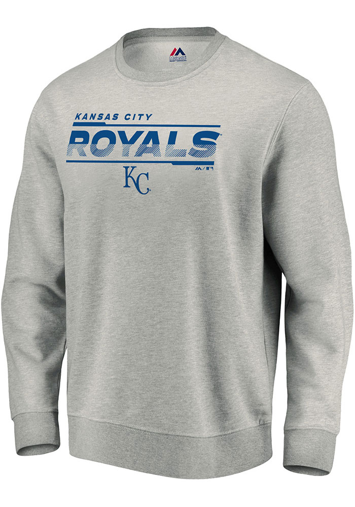 Kansas City Royals Majestic Split Personality Crew Sweatshirt - Grey