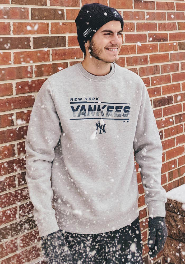 competitive price c3155 8ac06 Majestic New York Yankees Mens Grey Split Personality Long Sleeve Crew  Sweatshirt