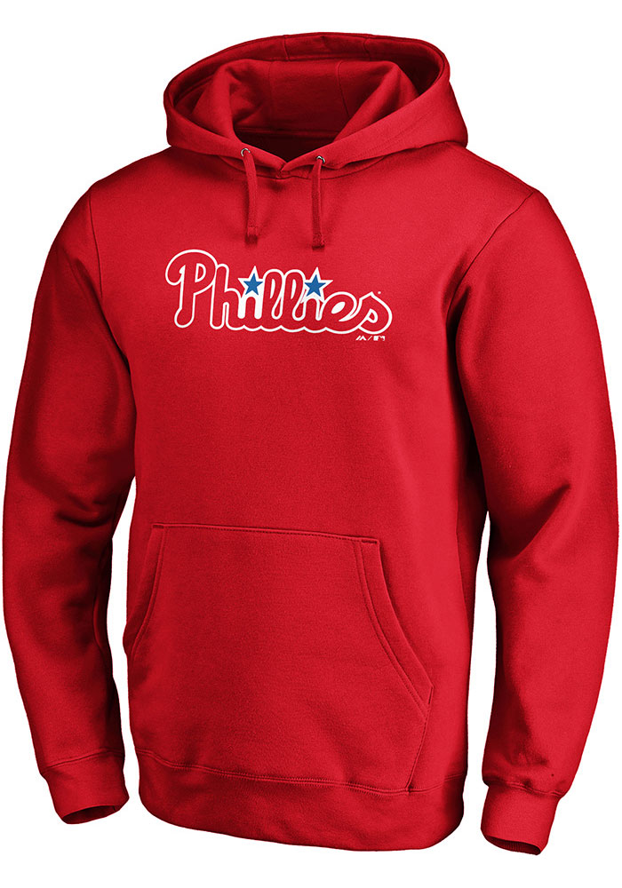 Majestic Philadelphia Phillies Mens Red Rep Your Squad Long Sleeve Hoodie - Image 1