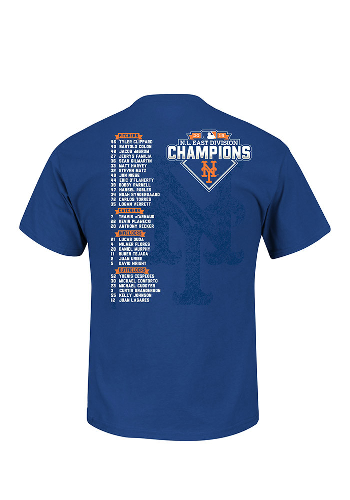 New York Mets Royal Team Represent Division Champs Roster Tee - Image 2