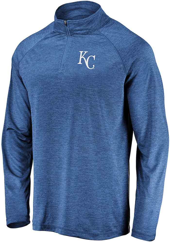 Majestic Kansas City Royals Mens Blue Contenders Welcome Long Sleeve 1/4 Zip Pullover - Image 1