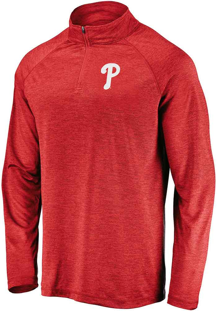 Majestic Philadelphia Phillies Mens Red Contenders Welcome Long Sleeve 1/4 Zip Pullover - Image 1